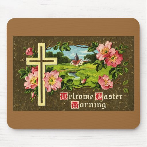 Cross, Wild Roses and Church Vintage Easter Mouse Pad