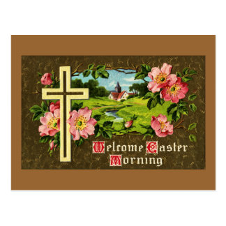 Cross, Wild Roses and Church Vintage Easter Postcards