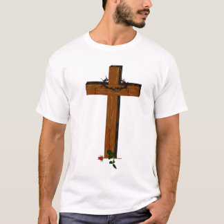 Cross With A Thorn Wreath And Rose T-Shirt