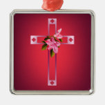 Cross with Azalea Flowers Easter Square Metal Christmas Ornament