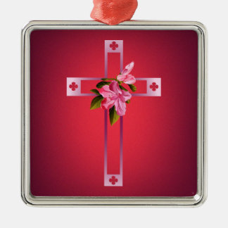 Cross with Azalea Flowers Easter Christmas Ornament