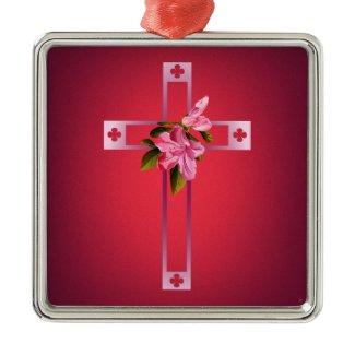 Cross with Azalea Flowers Easter Christmas Ornament