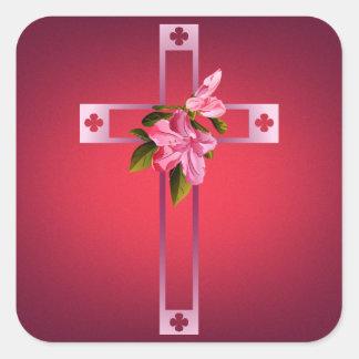 Cross with Azalea Flowers Easter Square Sticker