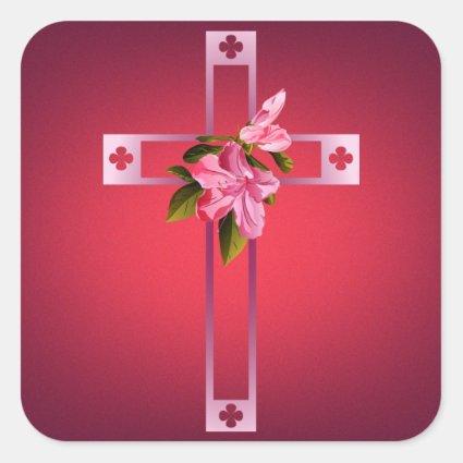 Cross with Azalea Flowers Easter Sticker