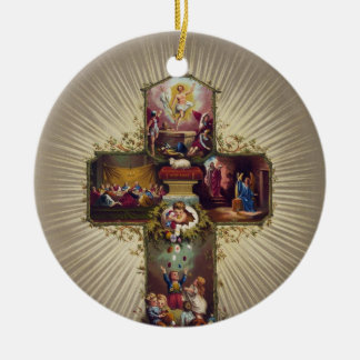 Cross with Biblical Scenes Children & Easter Eggs Double-Sided Ceramic Round Christmas Ornament