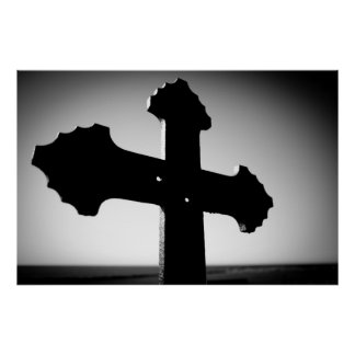 Cross with bullet holes posters