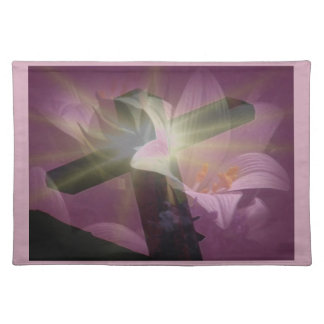 Cross with Easter Lillies Cloth Placemat