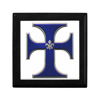 Cross with fleur-de-lis – Blue Jewelry Boxes