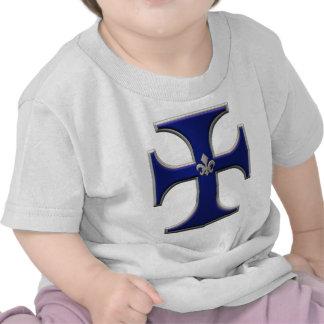 Cross with fleur-de-lis - Blue T Shirts