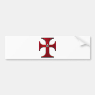Cross with fleur-de-lis – Red Bumper Sticker