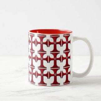 Cross with fleur-de-lis – Red Two-Tone Coffee Mug