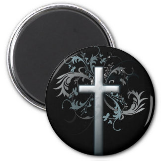 Cross with floral graphics 2 inch round magnet