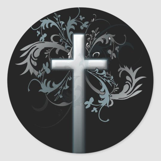 Cross with floral graphics classic round sticker