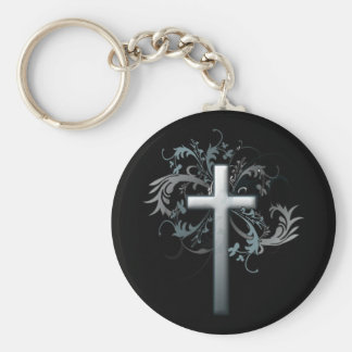 Cross with floral graphics basic round button keychain