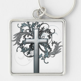 Cross with floral graphics keychain