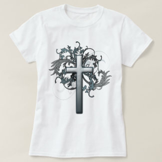 Cross with floral graphics T-Shirt