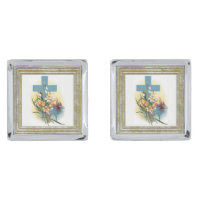 Cross With Flowers And Boats Cufflinks