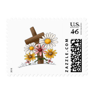 Cross with Flowers Postage