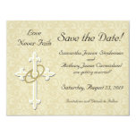 Cross with Golden Rings Save the Date Cards