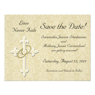 Cross with Golden Rings Save the Date Cards Personalized Invitations