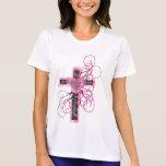 Cross with heart and scrolls tee shirt