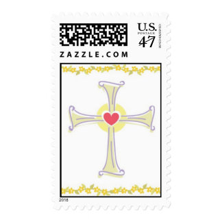 Cross with Heart Postage