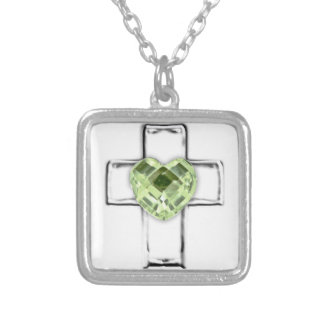 cross with heart shaped August birthstone Square Pendant Necklace