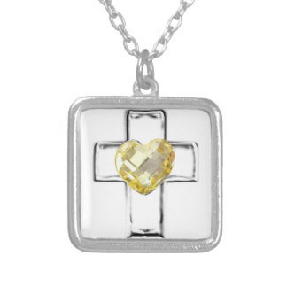 cross with heart shaped Novemeber birthstone Square Pendant Necklace