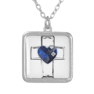cross with heart shaped September birthstone Silver Plated Necklace