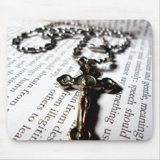 Cross with Jesus and Bible Mouse Pad