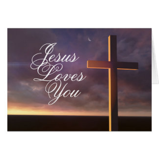 "Cross with 'Jesus Loves You"" Bible Verse Card"