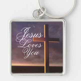 Cross with 'Jesus Loves You' Keychain Silver-Colored Square Keychain