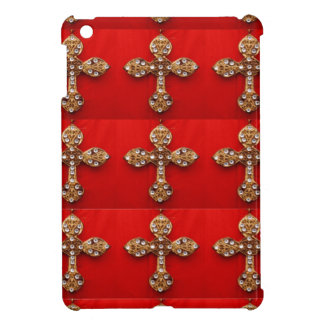 Cross with Jewels : Pattern on Red Base Case For The iPad Mini
