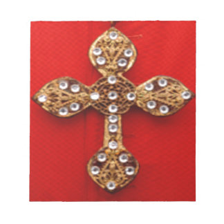 Cross with Jewels Pattern on Red Base Memo Pads