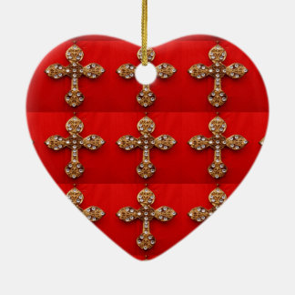 Cross with Jewels : Pattern on Red Base Christmas Ornaments