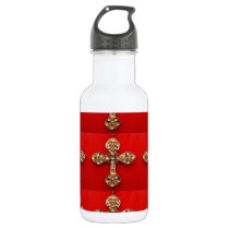 Cross with Jewels : Pattern on Red Base Water Bottle