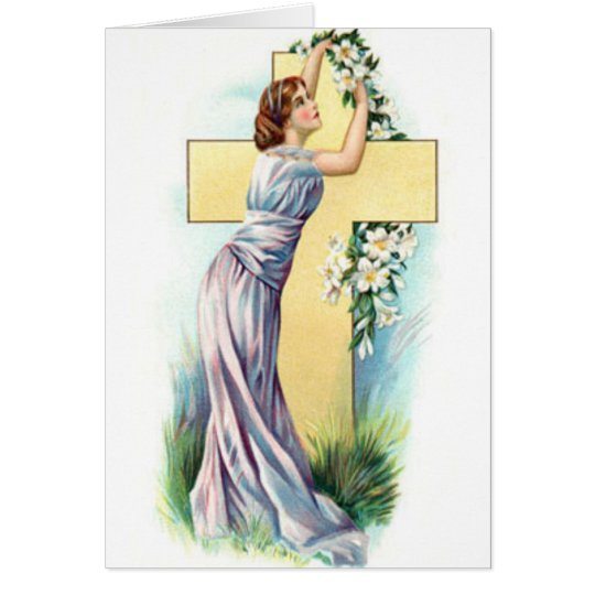 Cross With Lady And Flowers Card