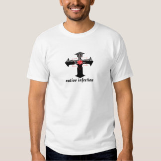 cross with native infection lettering tshirt