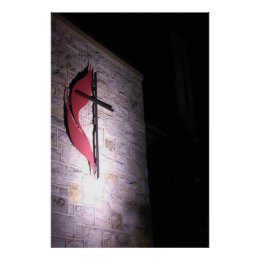 Cross With Red Flare Framed Print