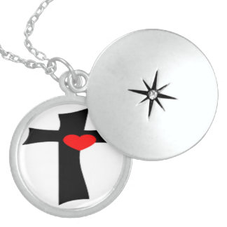 CROSS WITH RED HEART LOCKET NECKLACE