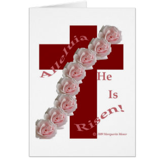 Cross with rose swag, Easter card