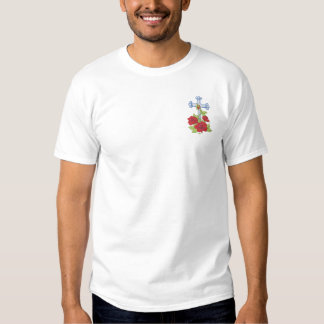 Cross with Roses Embroidered T-Shirt
