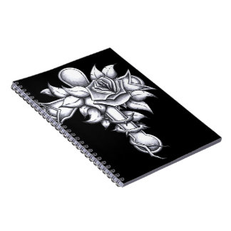 Cross with Roses Spiral Notebook