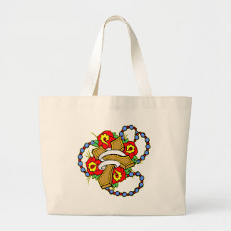Cross With Roses Tattoo Tote Bag