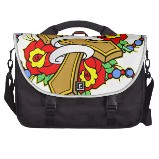 Cross With Roses Tattoo Laptop Messenger Bag
