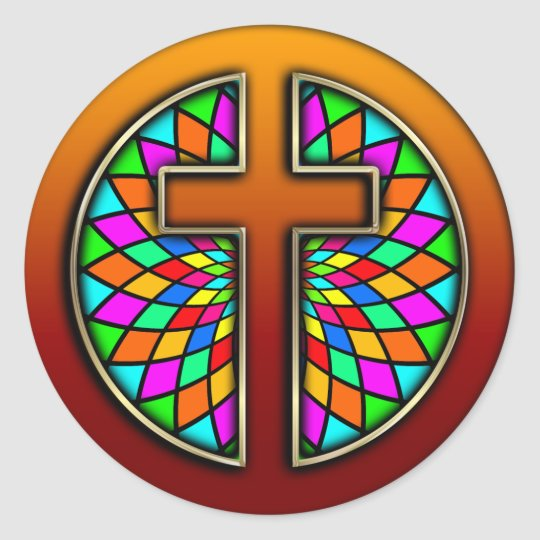 CROSS WITH STAINED GLASS CLASSIC ROUND STICKER