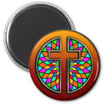 CROSS WITH STAINED GLASS FRIDGE MAGNET