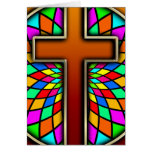 CROSS WITH STAINED GLASS GREETING CARD