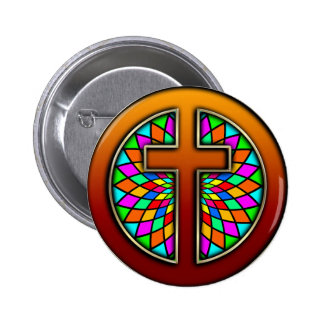 CROSS WITH STAINED GLASS PINBACK BUTTON