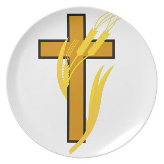 Cross with wheat melamine plate